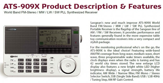 """Sangean published """"Key selling points"""" PDF for its new ATS-909X"""